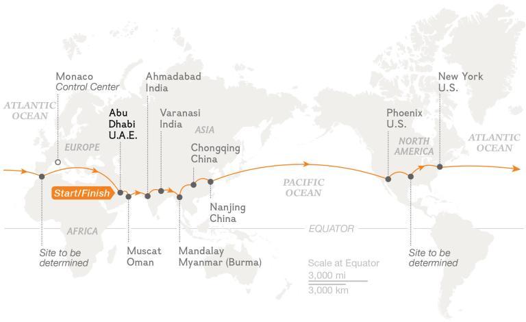 Mapa Solar Impulse 2