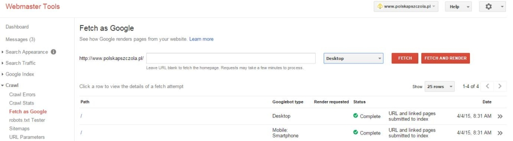 aktualizacja google webmaster tools